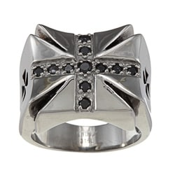 Inox Stainless Steel Black Cubic Zirconia Iron Cross Ring
