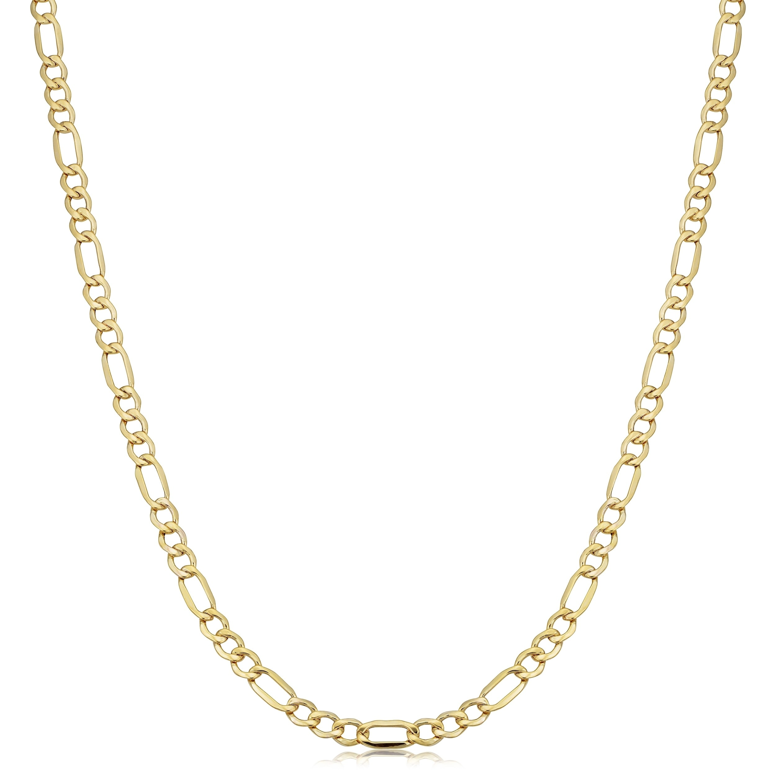 Men/'s Women/'s Ladies Real 10k Gold Figaro Hollow Chain 2.5 mm 18-24 inch