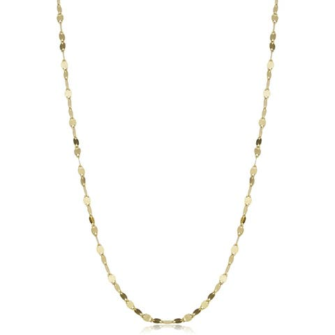 10k White or Yellow Gold 1.9-mm Mirror Flat Link Chain (16 - 20 inch)
