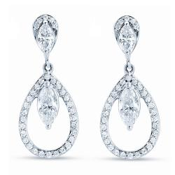 14k White Gold 1 3/4 ct TDW Diamond Dangle Earrings (H-I, I1-I2)