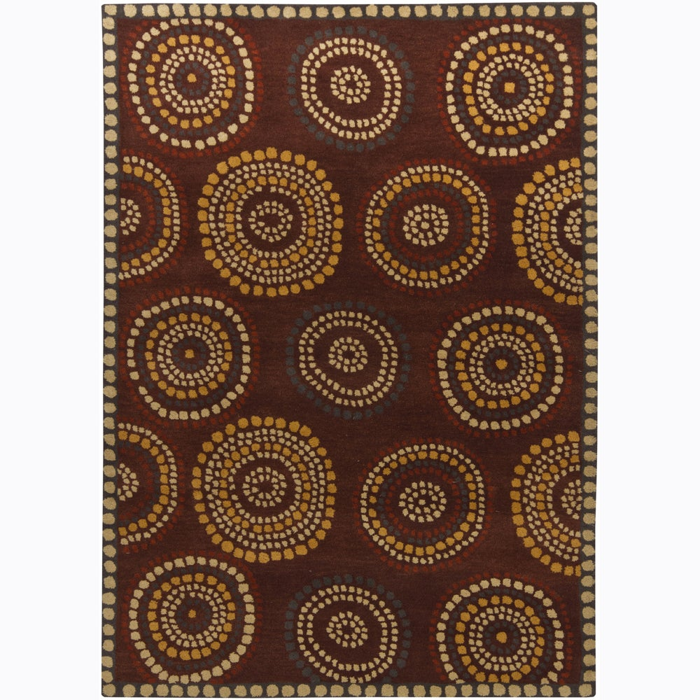 Artist's Loom Hand-tufted Contemporary Geometric Wool Rug (5'x7') - 5' x 7'