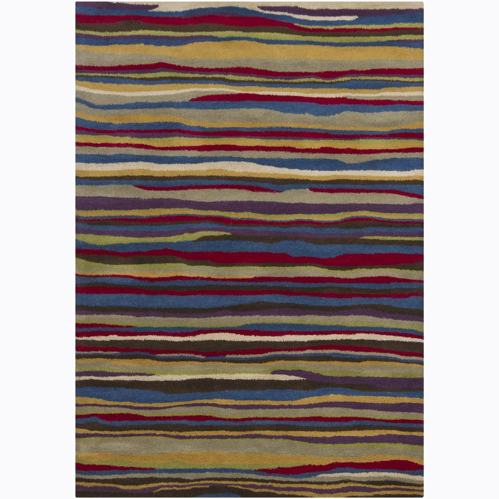 Artist's Loom Hand-tufted Contemporary Abstract Wool Rug - Multi - 5' x 7'