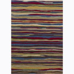 Artist's Loom Hand-tufted Contemporary Abstract Wool Rug - Multi - 5' x 7' - Thumbnail 0