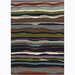 Artist's Loom Hand-tufted Contemporary Abstract Wool Rug (5'x7') - Thumbnail 0