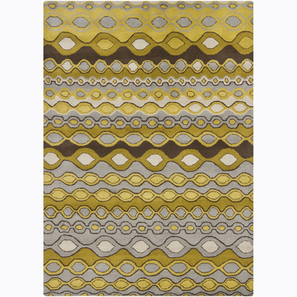 Artist's Loom Hand-tufted Contemporary Geometric Wool Rug - 5' x 7'