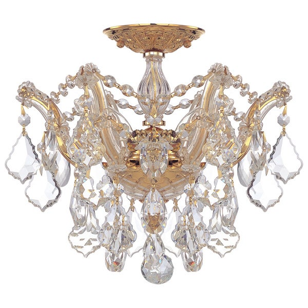 Crystorama Maria Theresa Collection 3-light Polished Gold Semi-flush Mount