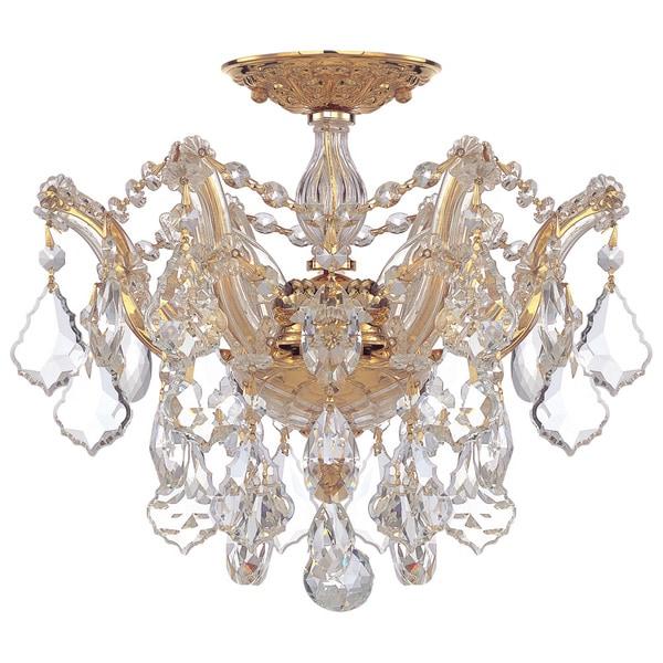 Crystorama Maria Theresa Collection 3-light Polished Gold Semi-flush Mount