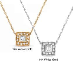Eloquence 14k Gold 3/8ct TDW Princess Diamond Frame Necklace (G-H, SI1-SI2)