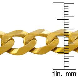 Fremada 14k Yellow Gold Men's Semi-solid Curb Bracelet