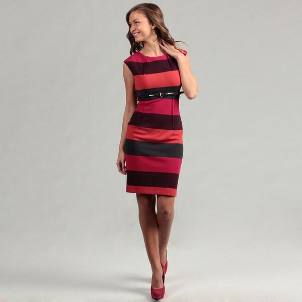 Calvin Klein Women's Ponte Cap Sleeve Belted Dress