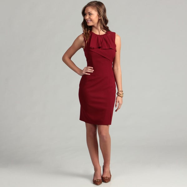 Calvin Klein Women's Brick Career Lux Ruffle Front Dress