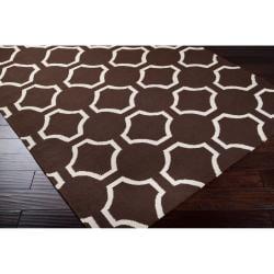 Jill Rosenwald Hand-woven Brown Cairo Wool Rug (5' x 8') - Thumbnail 1