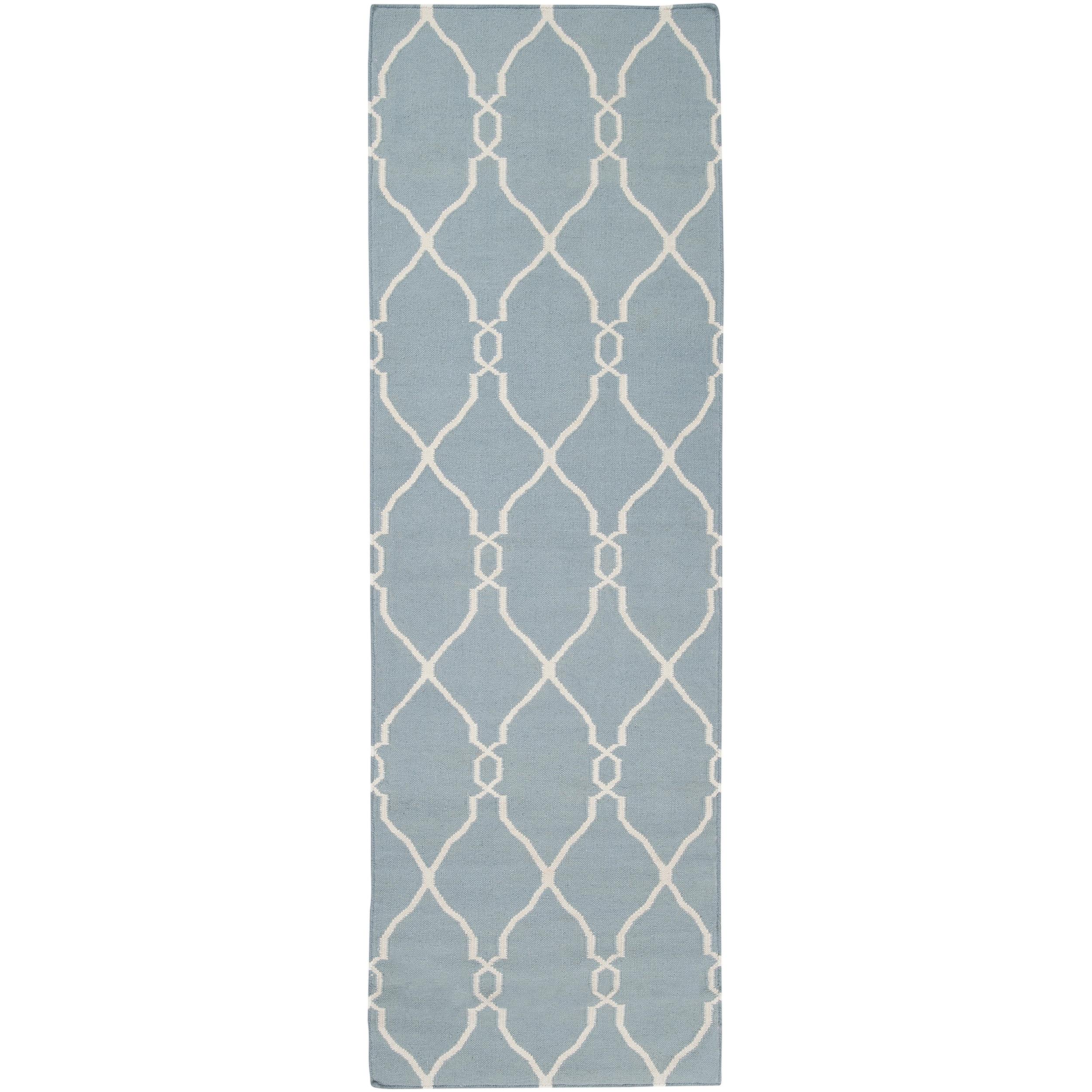 Hand-woven Blue Masoleum Wool Rug (2'6 x 8')