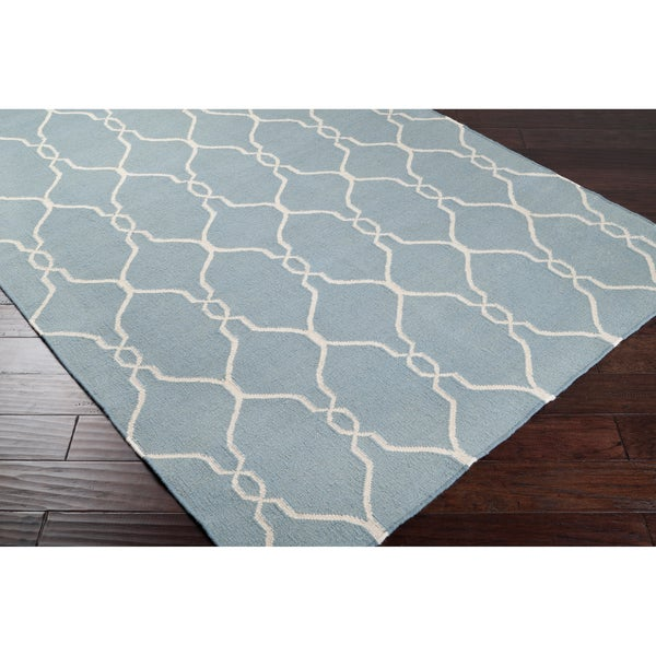 Hand-woven Blue Masoleum Wool Rug (5' x 8')