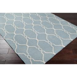 Hand-woven Blue Masoleum Wool Rug (9' x 13') - Thumbnail 1