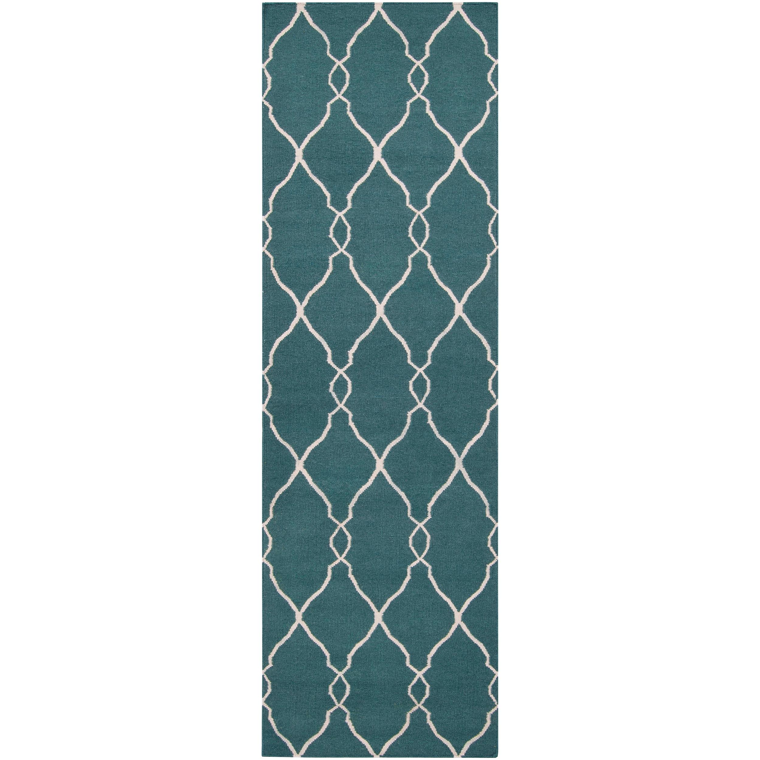 Hand-woven Blue Halicarn Wool Rug (2'6 x 8')