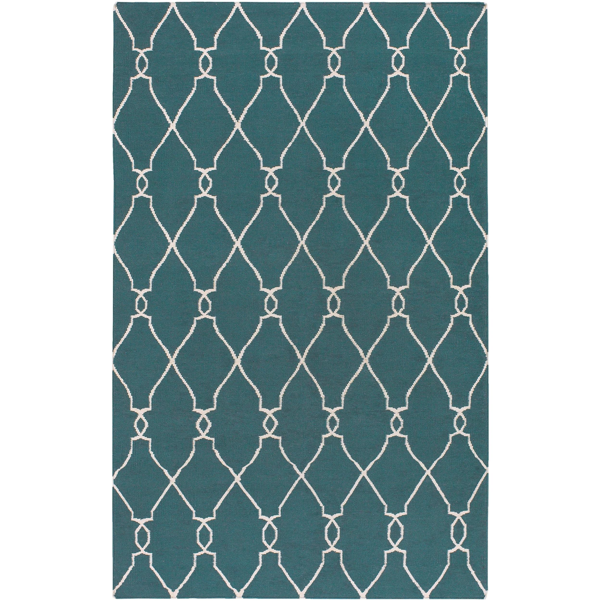 Hand-woven Blue Halicarn Wool Rug (3'6 x 5'6)