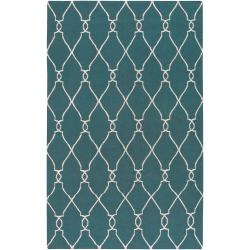 Hand-woven Blue Halicarn Wool Area Rug (3'6 x 5'6) - Thumbnail 0