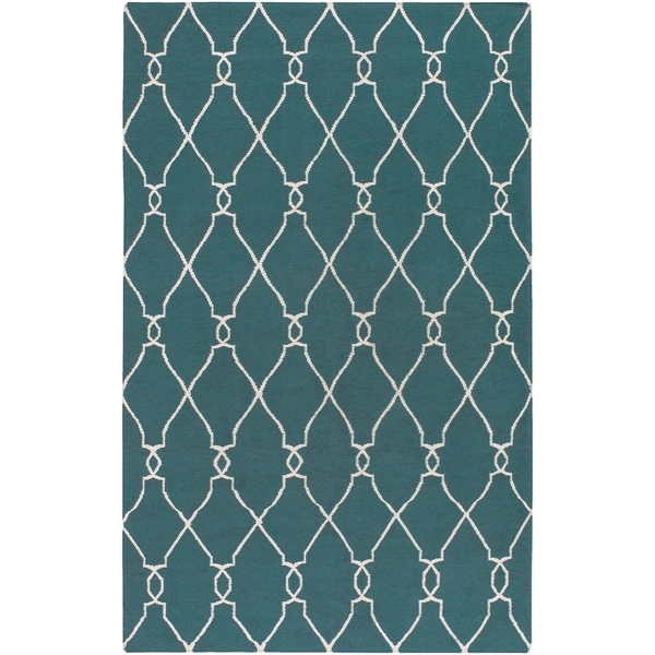 "Hand-woven Blue Halicarn Wool Area Rug - 3'6"" x 5'6"""