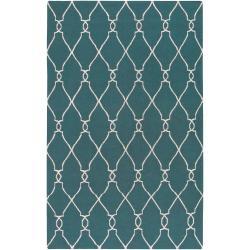 Hand-woven Blue Halicarn Wool Area Rug (8' x 11') - Thumbnail 0