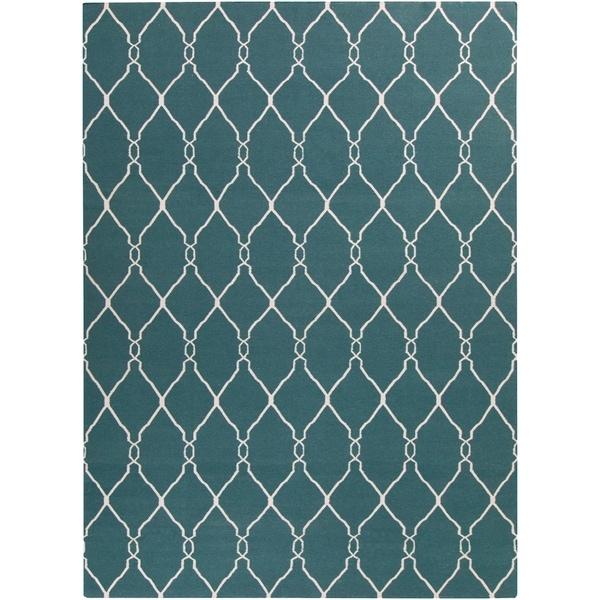 Hand-woven Blue Halicarn Wool Area Rug - 8' X 11'