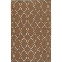 """Hand-woven Brown Rhodes Wool Area Rug - 3'6"""" x 5'6"""""""
