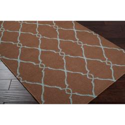 Hand-woven Brown Rhodes Wool Rug (9' x 13') - Thumbnail 1