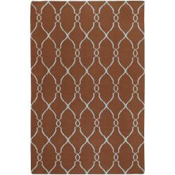 Hand-woven Brown Rhodes Wool Area Rug (9' x 13') - Thumbnail 0