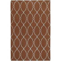 Hand-woven Brown Rhodes Wool Area Rug (9' x 13')