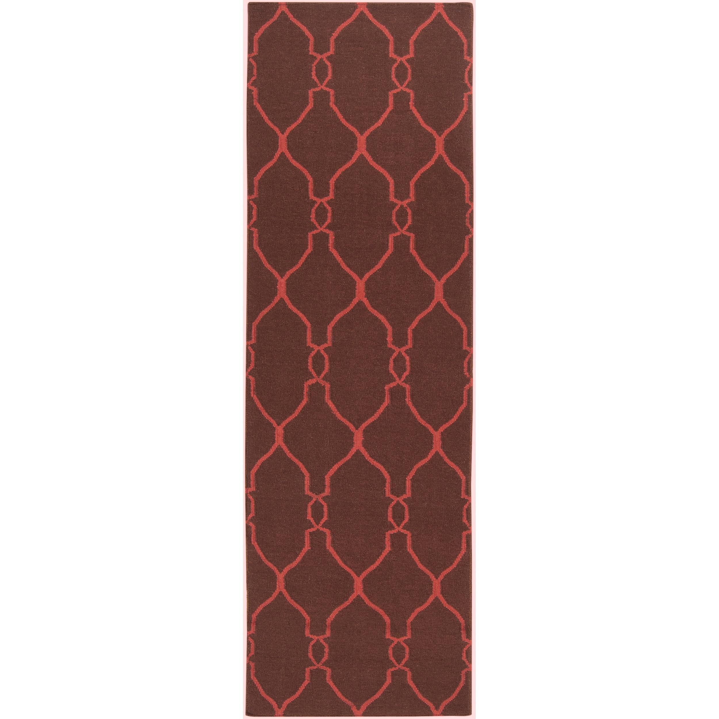 Hand-woven Brown Ishtar Wool Rug (2'6 x 8')