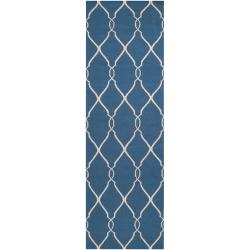 Hand-woven Blue Brewer Wool Rug (2'6 x 8')