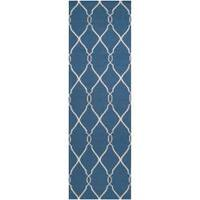"Hand-woven Blue Brewer Wool Area Rug - 2'6"" x 8'"