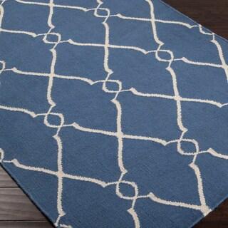 Hand-woven Blue Brewer Wool Rug (3'6 x 5'6)
