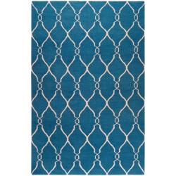 Hand-woven Blue Brewer Wool Rug (8' x 11')
