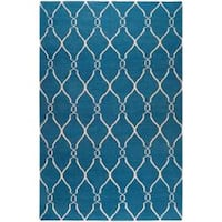 Hand-woven Blue Brewer Wool Area Rug (8' x 11')