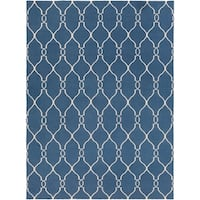 Hand-woven Blue Brewer Wool Area Rug - 8' x 11'