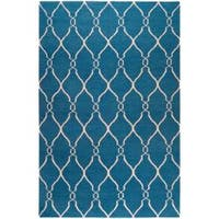 Hand-woven Blue Brewer Wool Area Rug (9' x 13')