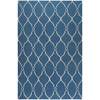 Hand-woven Blue Brewer Wool Area Rug - 9' x 13'