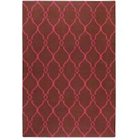 Hand-woven Pink Catacomb Wool Area Rug (9' x 13')