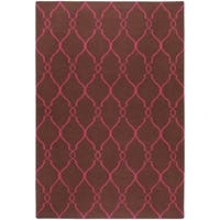 Hand-woven Pink Catacomb Wool Area Rug - 9' x 13'