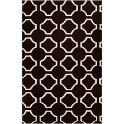 Hand-woven Black Cluny Wool Rug (8' x 11')