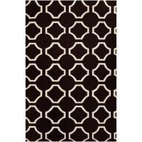 Hand-woven Black Cluny Wool Area Rug (8' x 11')