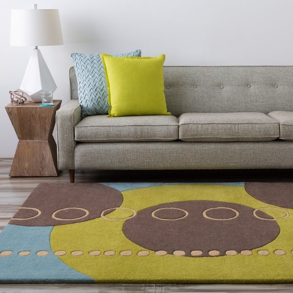 Hand-tufted Contemporary Multi Colored Geometric Circles Integraph Wool Abstract Area Rug - 7'6 x 9'6