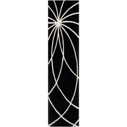 Hand-tufted Contemporary Black/White Adler Wool Abstract Rug (2'6 x 8')