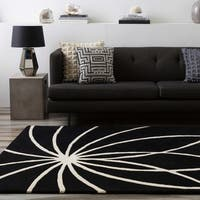 "Hand-tufted Contemporary Black/White Adler Wool Abstract Area Rug - 2'6"" x 8'"