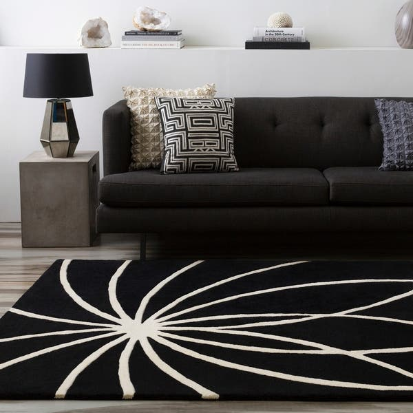 Hand Tufted Contemporary Black White Adler Wool
