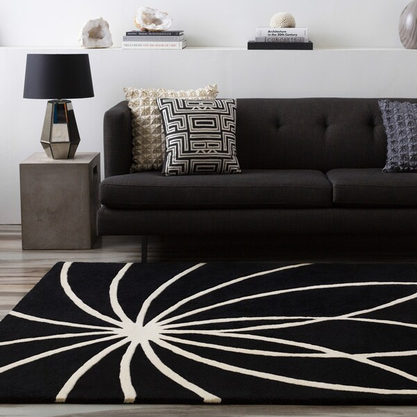 Hand-tufted Contemporary Black/White Adler Wool Abstract Area Rug - 4' x 6'