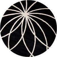 Hand-tufted Contemporary Black/White Adler Wool Abstract Area Rug - 6'