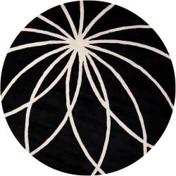 Hand-tufted Contemporary Black/White Adler Wool Abstract Rug (8' Round)