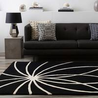 Hand-tufted Contemporary Black/White Adler Wool Abstract Area Rug - 8' x 8'